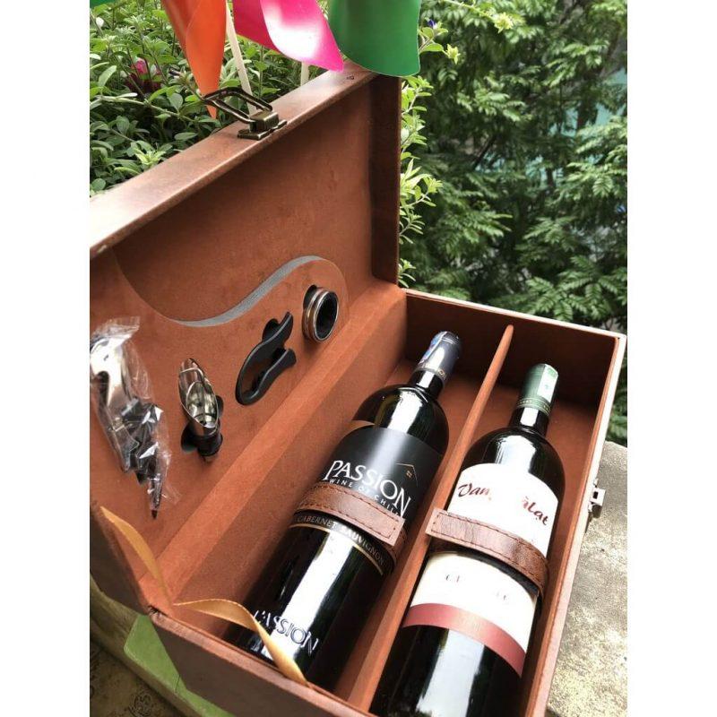 Hộp da đựng chai rượu vang đôi (trơn)