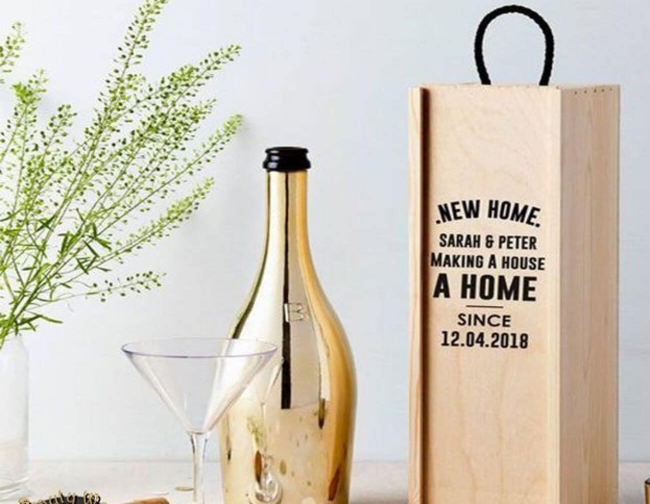 Hộp gỗ đựng rượu 1 chai nắp bản lề